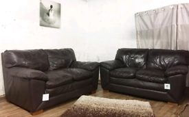 Dark brown real leather 2+2 seater sofas