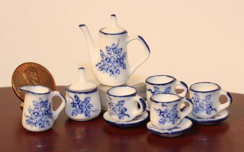 Dollhouse Miniature Blue & White Tea Set