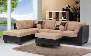 SECTIONAL SOFA COUCH WITH OTTOMAN BEIGE OR BROWN MICROFIBRE