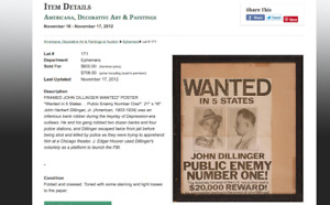 John Dillinger original wanted poster