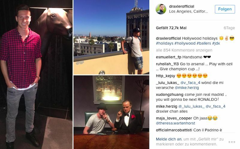 Im Urlaub wird Julian Draxler schon mal zum Paten. (Bild: Instagram/ @draxlerofficial)
