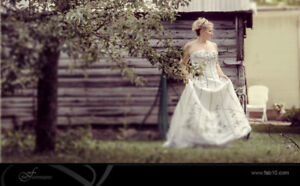 Wedding dress; Size 16/18; Black and white features