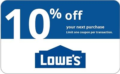ONE 1x Lowes 10% OFF 1Coupon-InStore and Online---------15 seconds--Delivery----