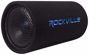 """Rockville 10"""" Powered Car Subwoofer Tube 250 Watts RMS"""