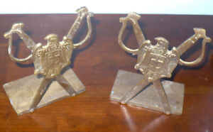 Vintage Military Style Solid Brass Bookends