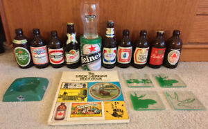 Various Beer Collectibles Retro Stubbies Glasses Book
