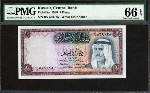 Kuwait 1968, 1 Dinar, P8, PMG 66 EPQ GEM UNC