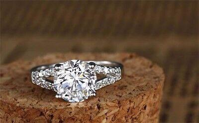 2 CT DIAMOND Engagement Wedding Anniversary Bridal Ring Solid Silver  Size 6 Anniversary Wedding Bridal Ring