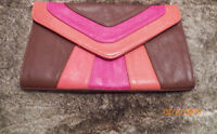 Amazing Condition Pink, Brown, and Coral Wide Clutch