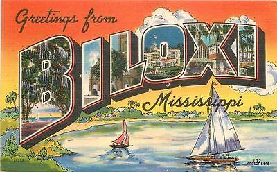 1951 Biloxi Mississippi Linen Multi View Sailboats Colorpicture Large Letter