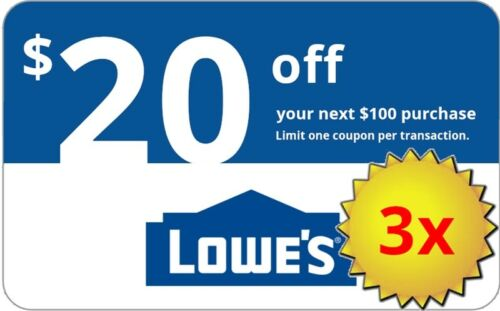 Three 3x Lowes $20 Off $100 Instore And Online3coupons---fast Delivery-----