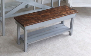 Custom Made Rustic Hall / Foyer Bench with Shoe Shelf