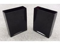 Black Glass Rectangle Vases - ideal centrepiece for a wedding or function