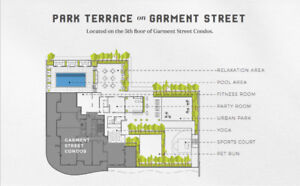 1 BED W/PARKING AT GARMENT STREET CONDOS - WESTERN VIEWS