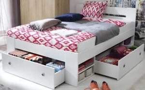 Oak Double Bed Nepo & 3 Drawers Storage Bed