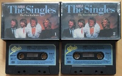 ABBA THE SINGLES THE FIRST TEN YEARS DOUBLE CASSETTE TAPE PAPER LABELS