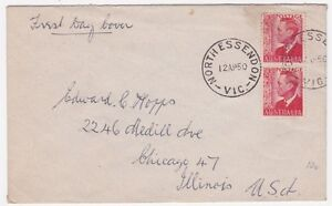 Australia North Essendon 1950 2 1/2d Pair FDC