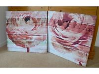Pair of Pink Rose Canvas Pictures - Shabby Chic.