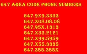 Easy to remember prestigious 416/647/905 Phone Numbers