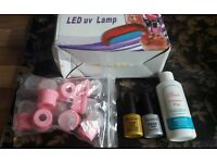 Nail kit set inc LED dryer - base and top coat - gel polish - UK PLUG included