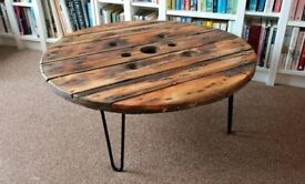 Solid Wood round coffee table with hairpin legs recycled cable reel drum