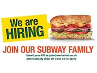 Subway Sandwich Artist - Part time & Full Time Positions Available