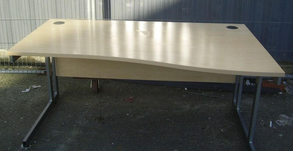 WOODEN OFFICE WAVE DESK LEFT & RIGHTS 6 OF EACH AVAILBLE