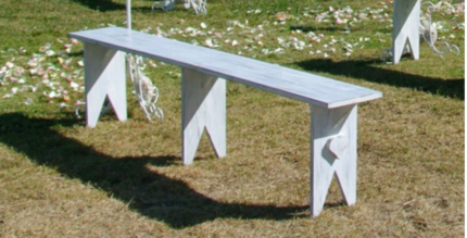 6 white wooden wedding benches