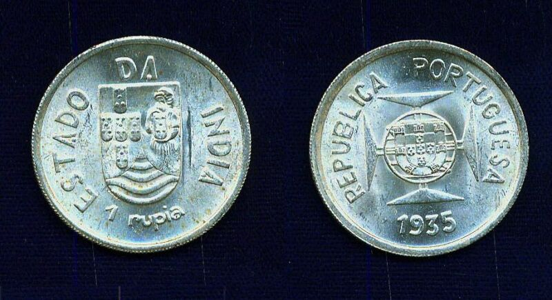 INDIA  PORTUGUESE  1935  1 RUPIA  SILVER COIN, BRILLIANT AND UNCIRCULATED