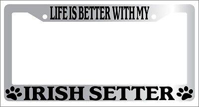 Irish Chrome License Plate Frame (Chrome METAL License Plate Frame LIFE IS BETTER WITH MY IRISH SETTER 428)