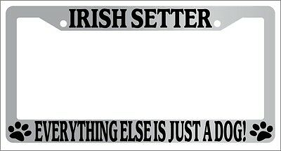 Irish Chrome License Plate Frame (Chrome METAL License Plate Frame IRISH SETTER EVERYTHING ELSE IS JUST A DOG!)
