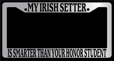 Irish Chrome License Plate Frame (Chrome License Plate Frame My Irish Setter Is Smarter Than Your Honor Student)