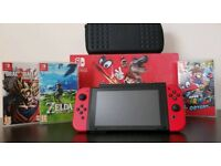 Switch Mario Edition +3 games, case and memory card