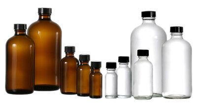 Boston Round Glass Bottles 12 1 2 4 8 16oz W Poly Cone Lined Black Cap