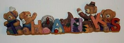 "THANKSGIVING, ""THANKS"" Four-Pilgrim, Colorful, RESIN, Table Center Piece, New"