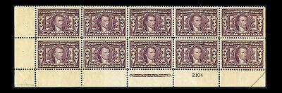 US #325; 3¢ LOUISIANA PURCHASE, BOTTOM IMPRINT PLATE # BLOCK OF 10, CV $1,630