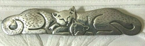 """925 Sterling Silver 2 Cats Curled Up Sleeping Brooch Pin 3"""" Long"""