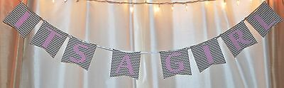 its a girl baby shower chevron grey and light pink hanging - Pink And Grey Baby Shower Decorations