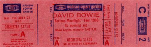 VINTAGE DAVID BOWIE 1983 SERIOUS MOONLIGHT TOUR UNUSED MSG CONCERT TICKET-C2
