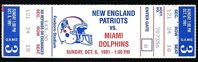 October 6, 1991 New England Patriots & Miami Dolphins Full Ticket Marino 2 TD's