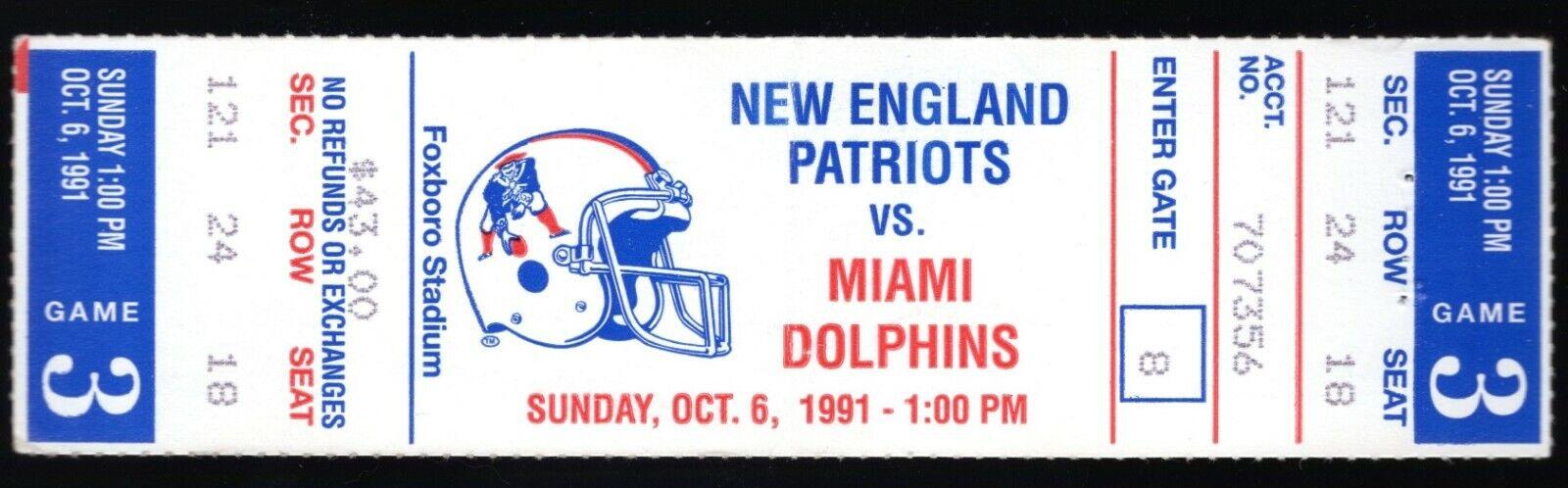 October 6, 1991 New England Patriots & Miami Dolphins Full Ticket Marino 2 TD's