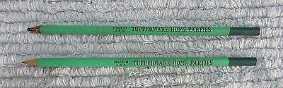 Pair Vintage 1960's Tupperware Home Parties Green Advertising Pencils FREE S/H