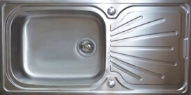Superdeep single bowl stainless steel sink 1 tap hole 1000mm