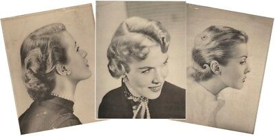 Three Large 1950s Ladies Hairstyle Hairdo Black & White Fashion Photos