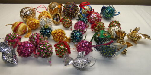 Large Lot of Vintage Christmas Hand Made Bead with Sequin Ornaments