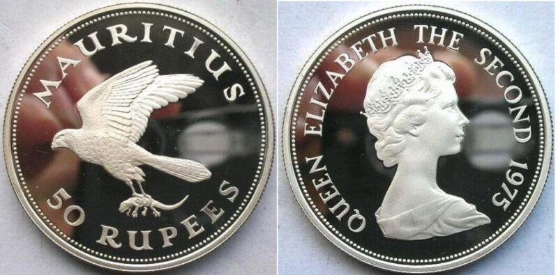 1975 Mauritius Large Silver Proof 50 Rupees-Kestrel bird