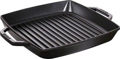 STAUB Grillpfanne Steak Pfanne 28 x28 cm Gusseisen schwarz quadratisch 40511-683 ()