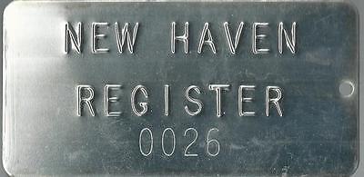 Vintage New Haven Register Metal Plate     0026  New Haven Connecticut