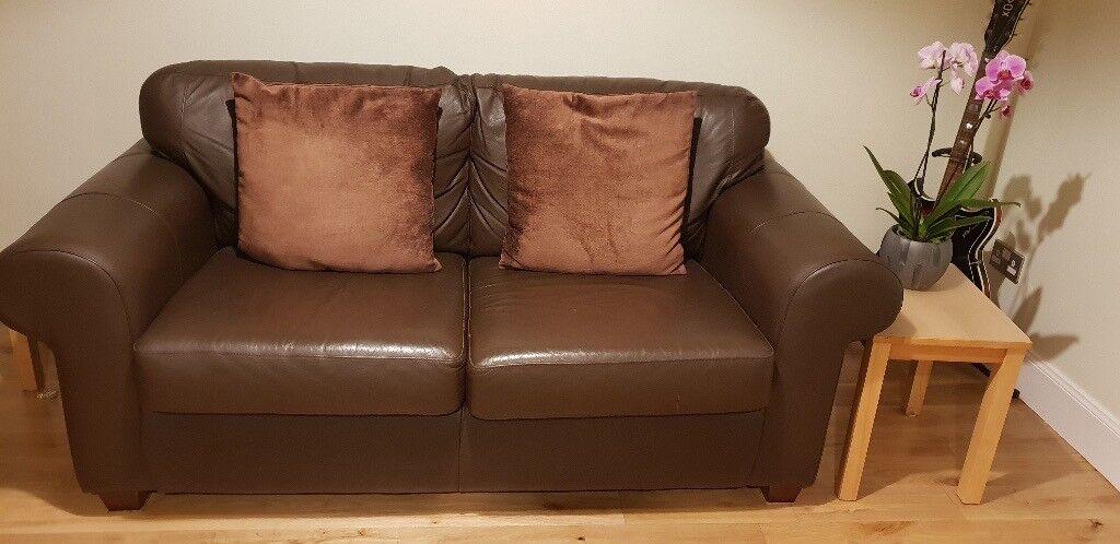 Superb Brown Real Leather Sofa Ikea Ektorp In Grange Edinburgh Gumtree Andrewgaddart Wooden Chair Designs For Living Room Andrewgaddartcom