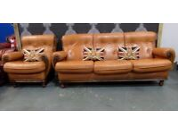 Fantastic Vintage Large 3 Seater Sofa Matching chair in Tan Leather - UK Delivery